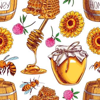 Patrón sin fisuras de tarros de miel, abejas, flores. ilustración dibujada a mano