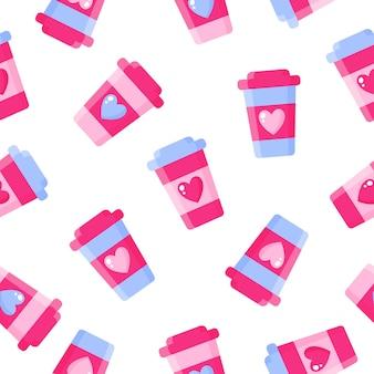 Patrón sin fisuras de taza de café con corazón