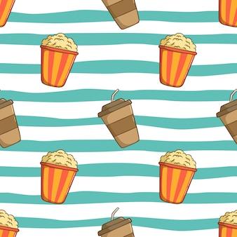 Patrón sin fisuras de la taza de café con palomitas de maíz y con estilo de dibujo coloreado