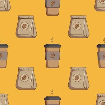 Patrón sin fisuras de taza de papel de café y bolsa de café con estilo doodle