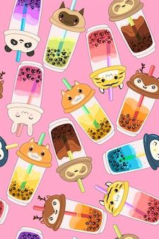 Patrón sin fisuras con té de burbujas kawaii con caras de animales