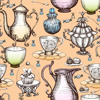 Patrón sin fisuras de té vintage