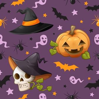 Patrón sin fisuras de tema de halloween