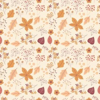 Patrón sin fisuras de la temporada de otoño con ilustración de hojas de otoño