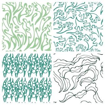 Patrón sin fisuras con textura de plantas marinas para tela textil en colores pastel fondo de vector