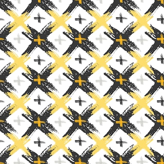 Patrón sin fisuras con texturas cruzadas grunge amarillo y negro. fondo de moda hipster