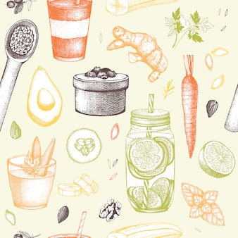 Patrón sin fisuras con tinta dibujados a mano elementos de dieta boceto. fondo de programa de desintoxicación y comida sana vintage.
