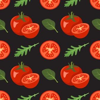 Patrón sin fisuras con tomates y hojas de rúcula espinaca