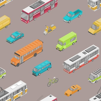 Patrón sin fisuras con el tráfico urbano o el transporte de automóviles en la ilustración de la calle de la ciudad.