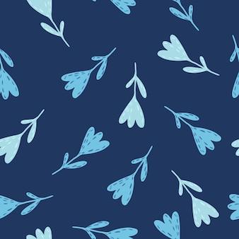 Patrón sin fisuras de tulipanes azul claro al azar. impresión botánica estilizada dibujada a mano sobre fondo de color azul marino.