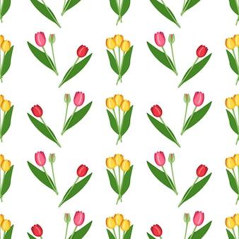 Patrón sin fisuras con tulipanes de flores de primavera de diferentes colores