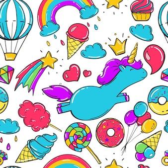 Patrón sin fisuras con unicornio y elementos lindos en estilo doodle