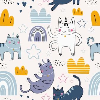 Patrón sin fisuras con unicornio gato divertido