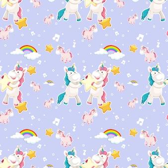 Patrón sin fisuras de unicornio con muchas nubes en púrpura