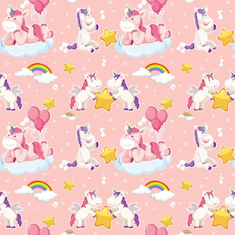Patrón sin fisuras de unicornio con muchas nubes sobre fondo rosa