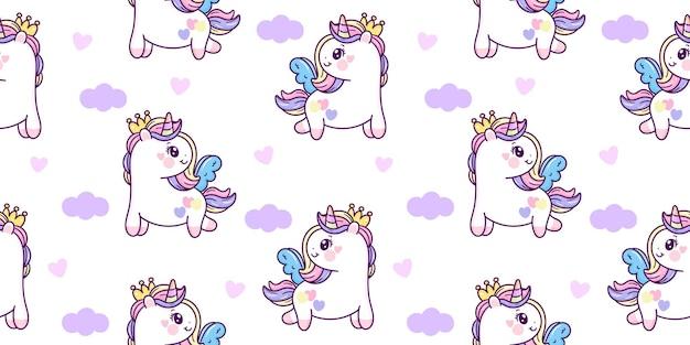 Patrón sin fisuras unicornio pegaso princesa dibujos animados kawaii animal