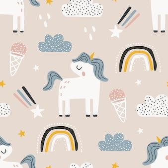 Patrón sin fisuras con un unicornio sobre un fondo de color ilustración vectorial para imprimir sobre tela