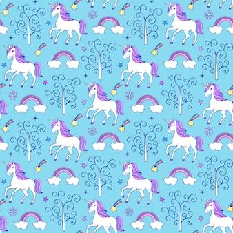 Patrón sin fisuras con unicornios, árboles y otros elementos