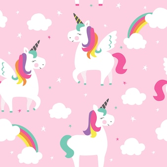 Patrón sin fisuras con unicornios y arco iris.