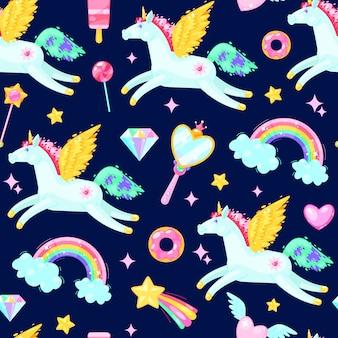 Patrón sin fisuras con unicornios, corazones, caramelos, nubes, arco iris y otros elementos sobre fondo oscuro.