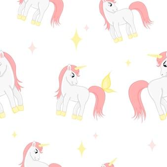 Patrón sin fisuras con unicornios y corazones sobre un fondo blanco. estilo de dibujos animados.