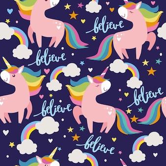 Patrón sin fisuras de unicornios nubes estrellas y arco iris sobre fondo azul ilustración vectorial