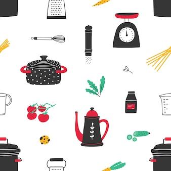 Patrón sin fisuras con utensilios de cocina dibujados a mano en blanco