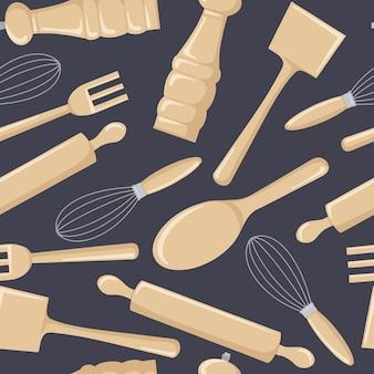 Patrón sin fisuras de utensilios de cocina de madera para cocinar.