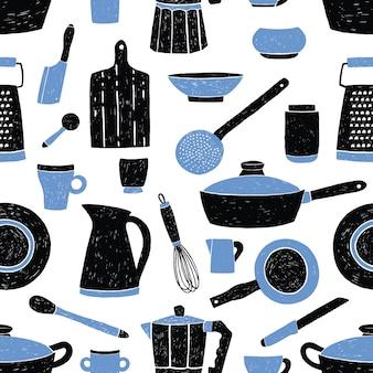 Patrón sin fisuras con utensilios de cocina negro y azul, vajilla, platos y herramientas.