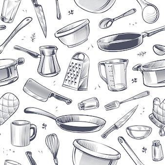 Patrón sin fisuras de utensilios de cocina.