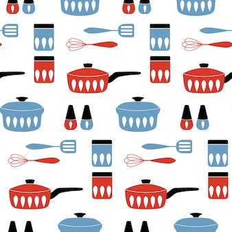 Patrón sin fisuras con utensilios de cocina.