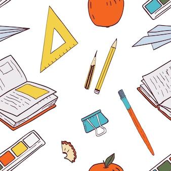 Patrón sin fisuras con útiles escolares o papelería para estudiantes y alumnos, accesorios para estudio y educación.
