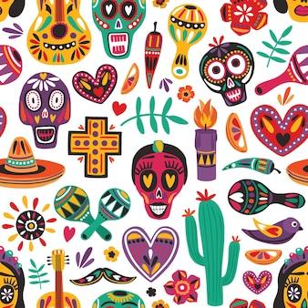 Patrón sin fisuras de vacaciones con decoraciones tradicionales del día de los muertos sobre fondo blanco. telón de fondo festivo. ilustración de vector de dibujos animados planos multicolores para papel de regalo, estampado de tela, papel tapiz.