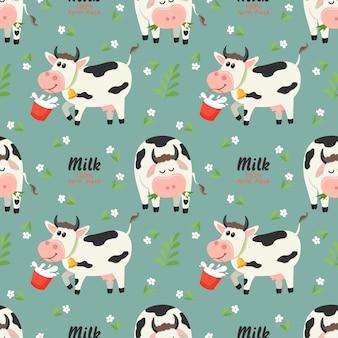 Patrón sin fisuras con vacas de granja y botella de leche