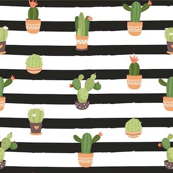 Patrón sin fisuras con varias maceta de cactus sobre fondo rayado.