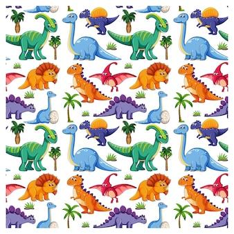 Patrón sin fisuras con varios dinosaurios y elementos de la naturaleza sobre fondo blanco.