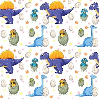 Patrón sin fisuras con varios dinosaurios y huevos de dinosaurio sobre fondo blanco.