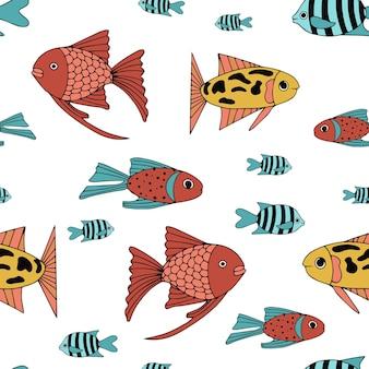 Patrón sin fisuras con varios peces de mar abstractos