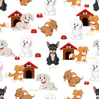 Patrón sin fisuras con varios perros lindos