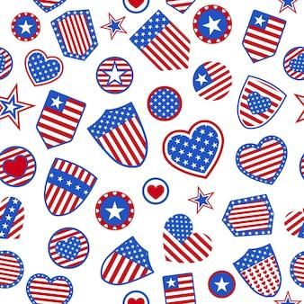 Patrón sin fisuras de varios símbolos de estados unidos en colores rojo y azul sobre fondo blanco.