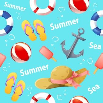 Patrón sin fisuras con vector de accesorios de verano