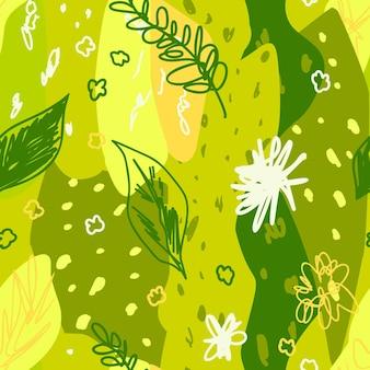 Patrón sin fisuras de vegetación abstracta con elementos botánicos abstractos en estilo memphis en verde brillante