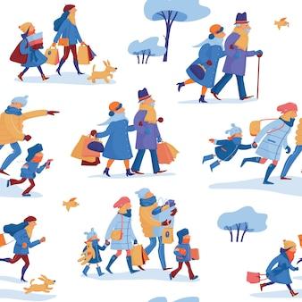 Patrón sin fisuras de venta de invierno con familia de padre, madre e hijos, amigos y pareja de ancianos en ropa de abrigo apresurándose