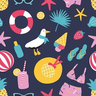 Patrón sin fisuras de verano con frutas exóticas, conchas marinas, gaviotas, hojas de la selva, traje de baño, gaviota.