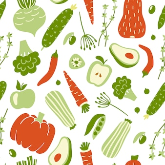 Patrón sin fisuras con verduras coloridas.