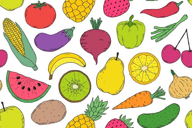 Patrón sin fisuras con verduras y frutas estilo dibujado a mano sobre fondo blanco.