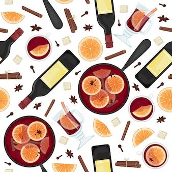 Patrón sin fisuras con vino tinto caliente en una olla con rodajas de naranja, canela, clavo y un balde. tazas blancas y de cristal de vino caliente. laico.