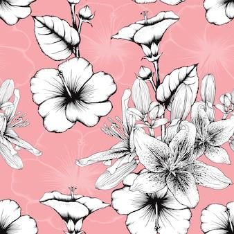 Patrón sin fisuras vintage lilly y flores de hibisco abstracto fondo rosa pastel