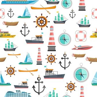 Patrón sin fisuras vintage de símbolos náuticos