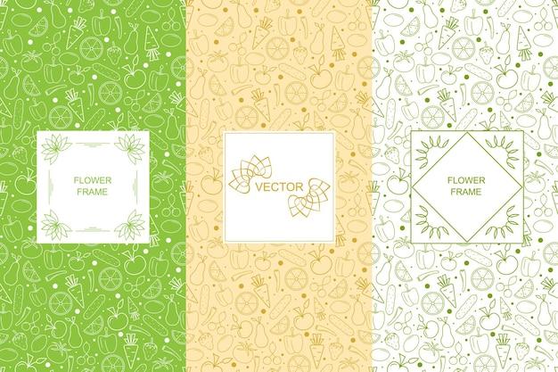 Patrón sin fisuras de vitaminas. vegetales y frutas. fondo lineal verde vegano. el concepto de comida orgánica y vegetariana. la plantilla y la etiqueta de saludable. ilustración vectorial.